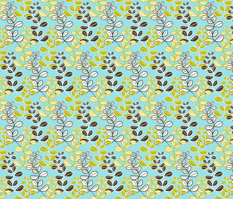 Growing Lucky on Blue with Soy fabric by inscribed_here on Spoonflower - custom fabric