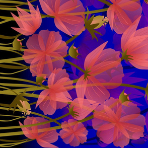 floral on midnight blue border