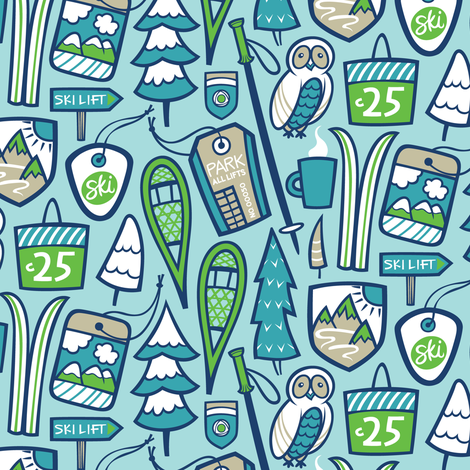 Ski Hill fabric by smashworks on Spoonflower - custom fabric