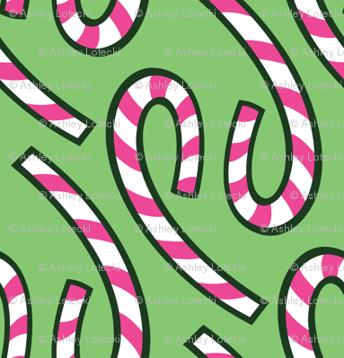 Candy Canes - Light Green - Ornamentary Coordinate