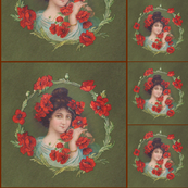 Poppy Lady Quilt Squares and Pillow