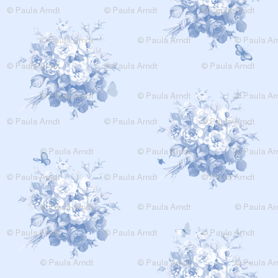 Jane's Rose Bouquet blueberry Wallpaper only