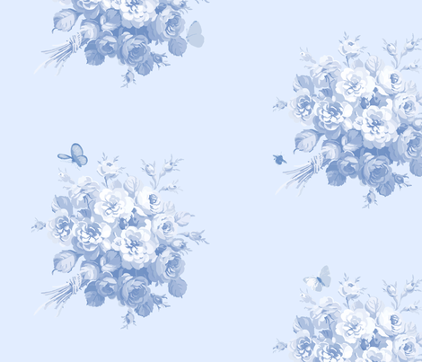 Jane's Rose Bouquet blueberry Wallpaper only fabric by lilyoake on Spoonflower - custom fabric