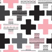 Pink plus sign cross geometric aztec modern pattern