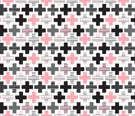 Pink plus sign cross geometric aztec modern pattern fabric by littlesmilemakers on Spoonflower - custom fabric