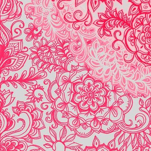 Raspberry Red & Rose Detailed Doodle Pattern