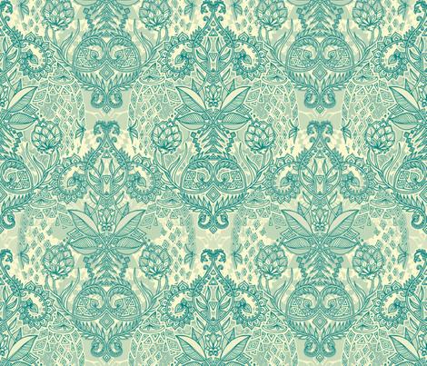 Emerald & Cream Geo Botanical Doodle fabric by micklyn on Spoonflower - custom fabric