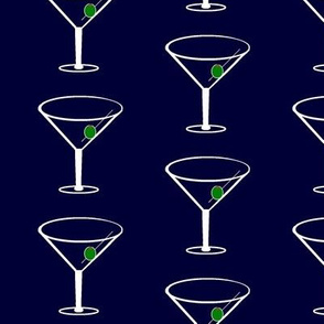 Martini Glass and Olive Navy