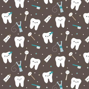 Happy Teeth & Friends - (Med) Brown & Teal