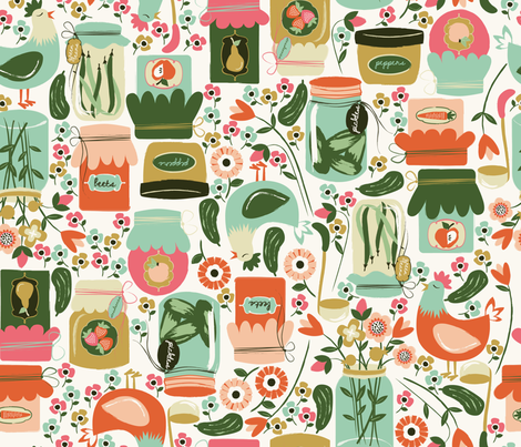 Let's Get Canning fabric by oliveandruby on Spoonflower - custom fabric