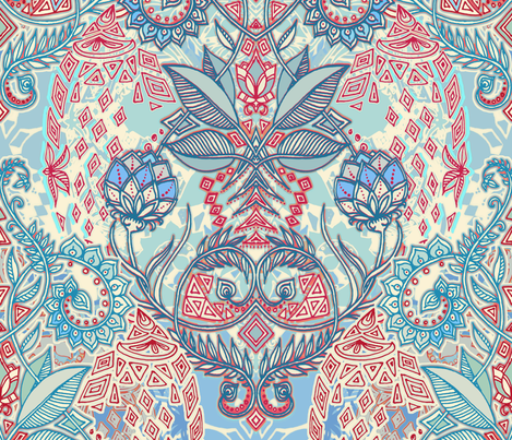Blue, Red, Turquoise & Cream Geo Botanical Doodle fabric by micklyn on Spoonflower - custom fabric