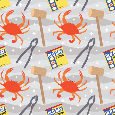 Ready to Eat Some Crabs?  fabric by jesseesuem on Spoonflower - custom fabric