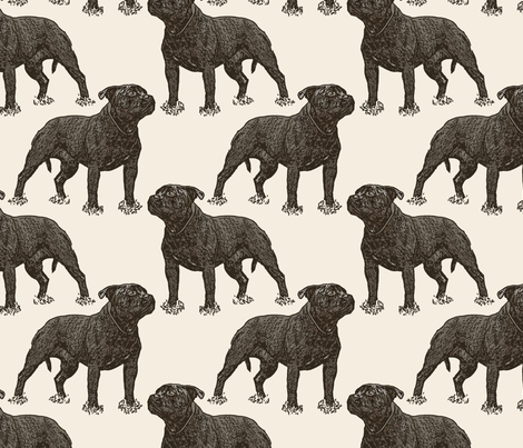 Posing Staffordshire Bull Terrier - sepia fabric by rusticcorgi on Spoonflower - custom fabric
