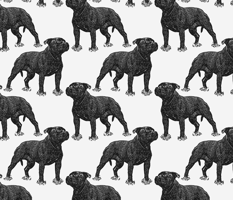 Posing Staffordshire Bull Terrier - gray fabric by rusticcorgi on Spoonflower - custom fabric