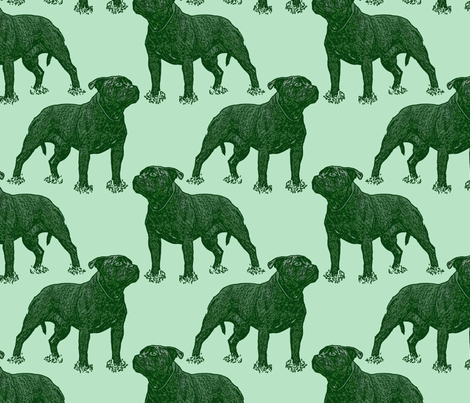 Posing Staffordshire Bull Terrier - green fabric by rusticcorgi on Spoonflower - custom fabric
