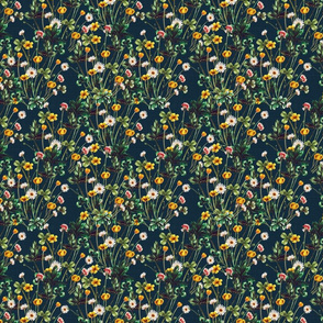 Wild Meadow on Rustic Blue Linen