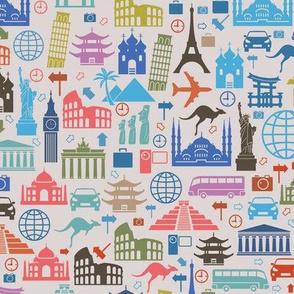 Travel Icons on Grey