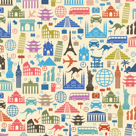 Travel Icons fabric by sandityche on Spoonflower - custom fabric