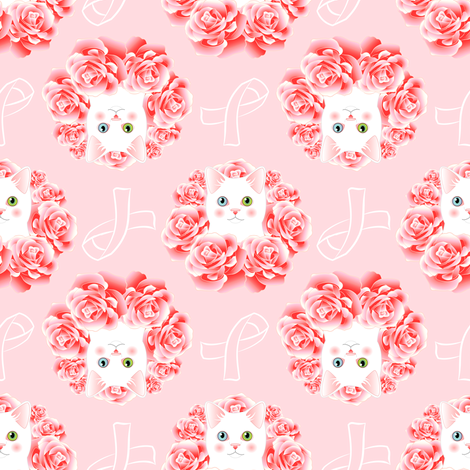 Kitty for the Cure - pink awareness ribbon fabric by bliss_and_kittens on Spoonflower - custom fabric