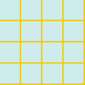 aqua + gold grid