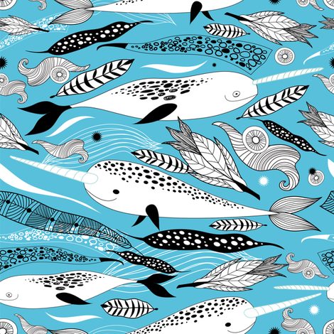 Narwhals & Feathers - Blue  fabric by sandityche on Spoonflower - custom fabric