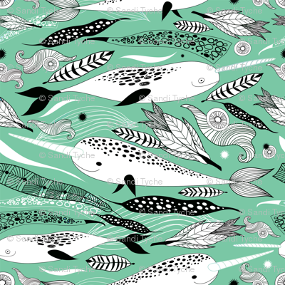 Narwhals & Feathers - Green