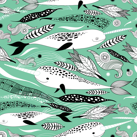 Narwhals & Feathers - Green  fabric by lunastone_crafts on Spoonflower - custom fabric
