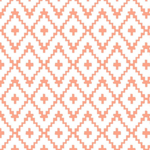 Southwest Diamonds Chevron - White & Coral