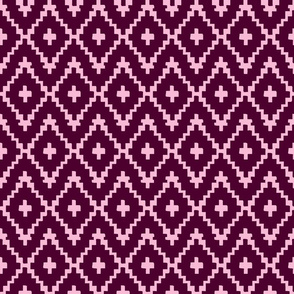 Southwest Diamonds Chevron - Burgundy & Pink