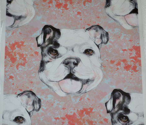 Happy Bulldog on red marble