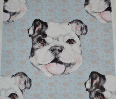 Happy Bulldog on gray hearts