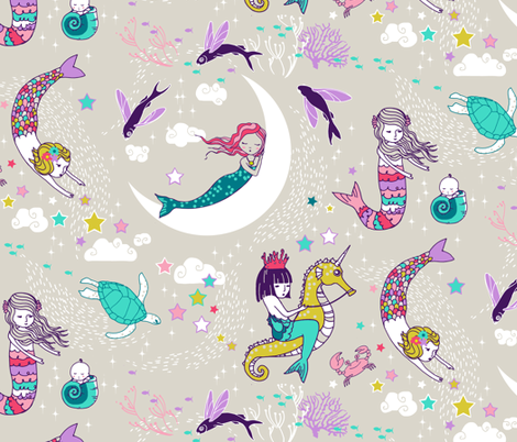 Mermaid Lullaby (Candy) LARGE fabric by nouveau_bohemian on Spoonflower - custom fabric