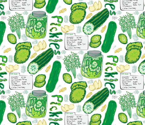 Farmer's Market Pickle Recipe fabric by pixabo on Spoonflower - custom fabric