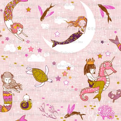 Mermaid Lullaby (Rose Linen) LARGE