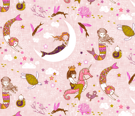 Mermaid Lullaby (Rose Linen) LARGE fabric by nouveau_bohemian on Spoonflower - custom fabric