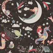 Mermaid Lullaby LARGE  (Black Linen)