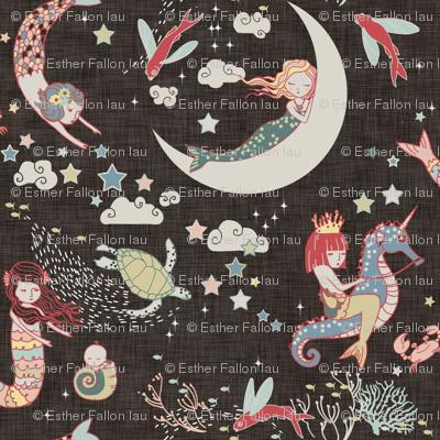 Mermaid Lullaby LARGE  (Black Linen)