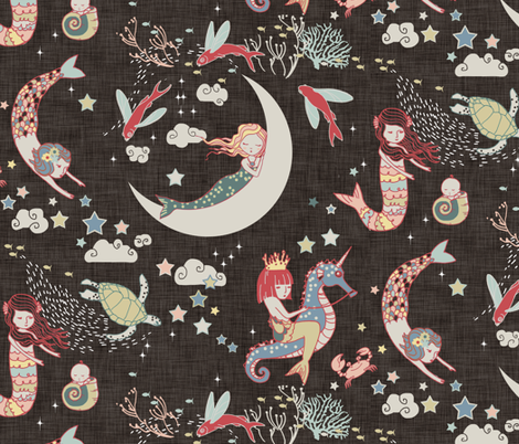 Mermaid Lullaby LARGE  (Black Linen) fabric by nouveau_bohemian on Spoonflower - custom fabric
