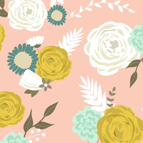 Summer blooms on pink fabric by mintpeony on Spoonflower - custom fabric