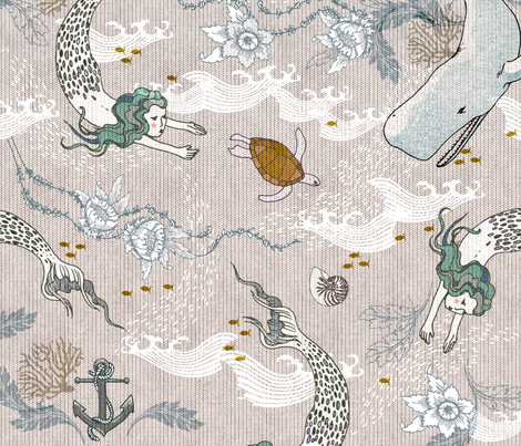 Mermaids (xxx LARGE) fabric by nouveau_bohemian on Spoonflower - custom fabric