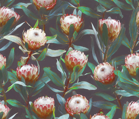 Evening Proteas - Green, red and soft grey fabric by micklyn on Spoonflower - custom fabric