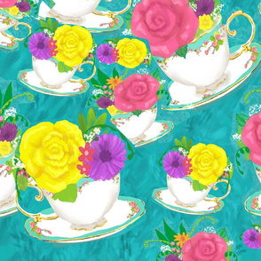 tea cup bouquet