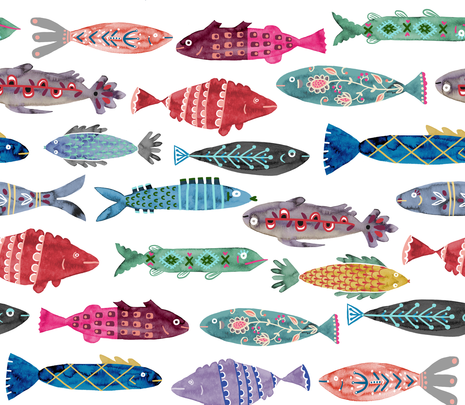 Large Colorful Folk Fish  fabric by katievernon on Spoonflower - custom fabric