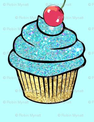 Sparkle Aqua gold Foil Cupcake red Cherry
