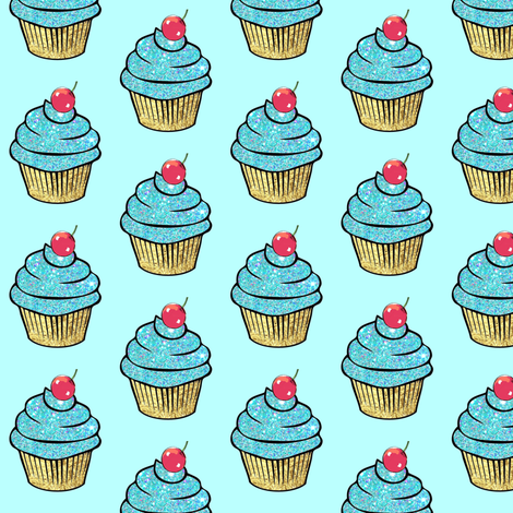 Sparkle Aqua gold Foil Cupcake red Cherry fabric by parisbebe on Spoonflower - custom fabric