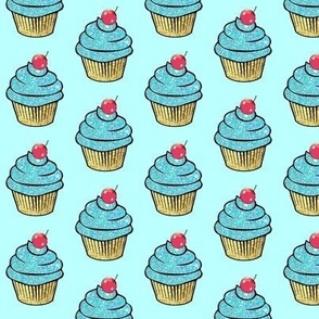 Sparkle Aqua gold Foil Cupcake red Cherry