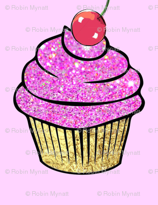 Sparkle Pink Cupcake gold foil red cherry
