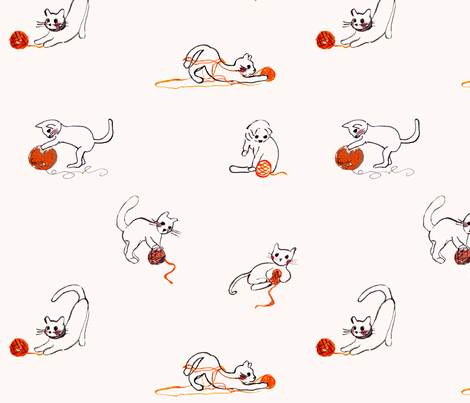 Kittens and wool fabric by maggie_lam_surface_design on Spoonflower - custom fabric