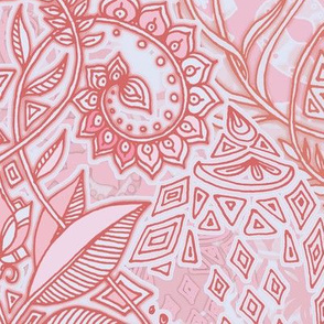 Peach Pink on Grey Geo Botanical Doodle