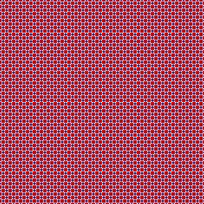 Tiny Squares and Diamonds  in Red Chile and Twilight Blue